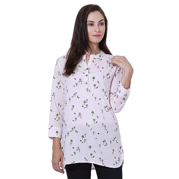 e3773a2fbb9f7e PIXIE lets work together! Women s Girls Green Floral Print Cotton Long  Top Kurti