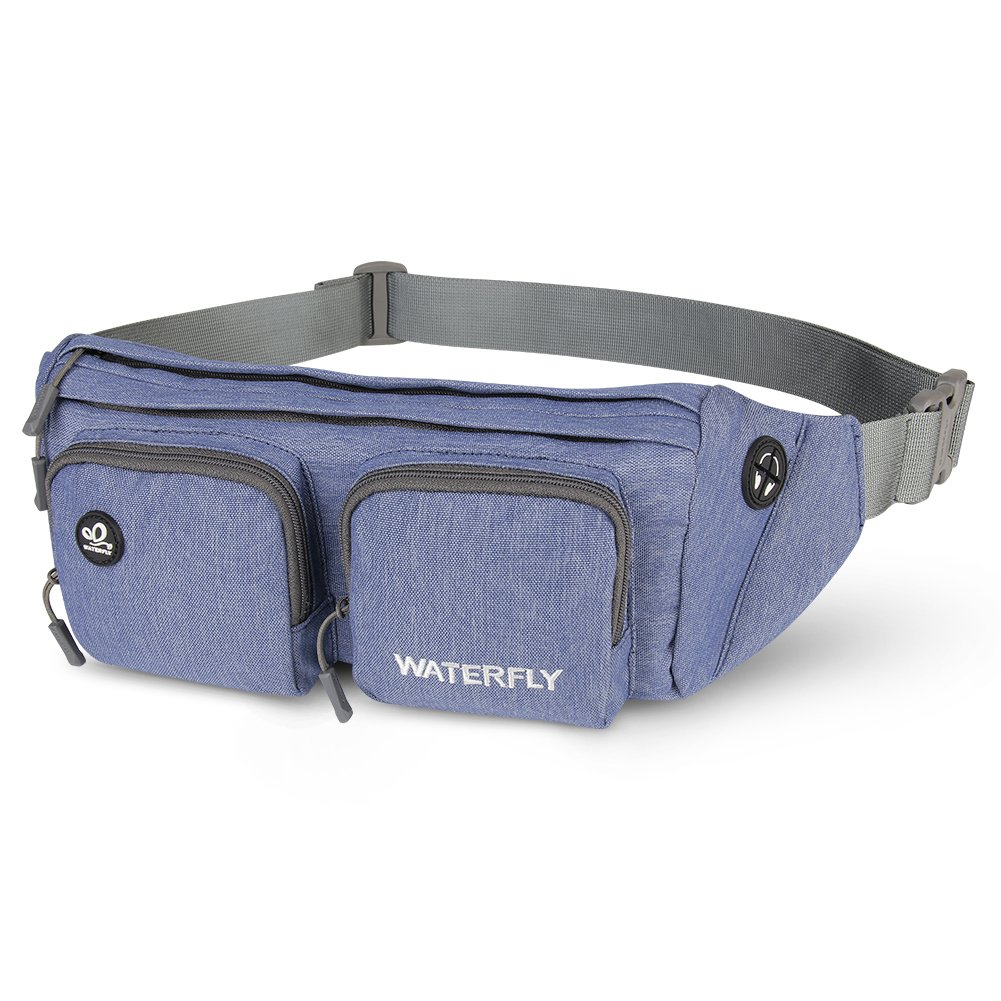 WATERFLY Fanny Pack Water Resistant Waist Bag Hip Pack for Men Women Travelling