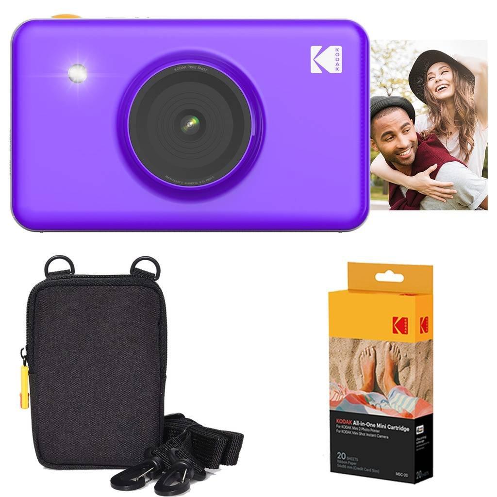Kodak Mini Shot Appareil Photo instantané (Noir) Offre de Base + Papier (20Feuilles) + étui de Luxe AMZ-KODMSK1B