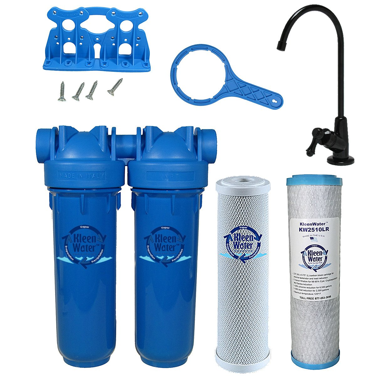 Chlorine Sediment Chloramine Lead Water Filter, KleenWater KW1000 Chemical Removal Under Sink Drinking Water Filtration System, Black Faucet, Two Filter Cartridges (Black) by KleenWater