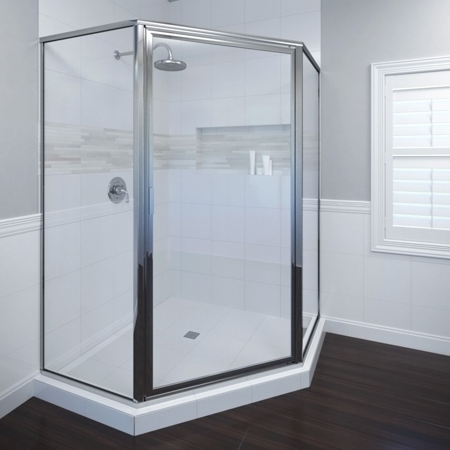 Basco Deluxe Neo Angle Shower Door, Clear Glass, Oil Rubbed Bronze ...