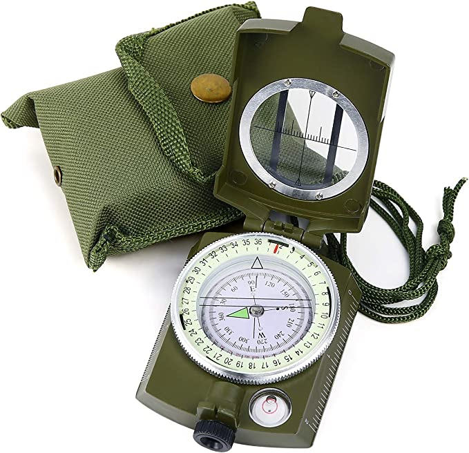 Professional Military Army Metal Sighting Clinometer Compass Camping Hiking U6C4