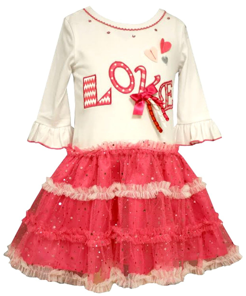 Bonnie Jean Little Girls Love Tutu Valentines Day Dress 6