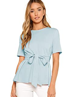 95656c6955f856 Romwe Women's Casual Self Tie Summer Round Neck Short Sleeve Blouse Tops