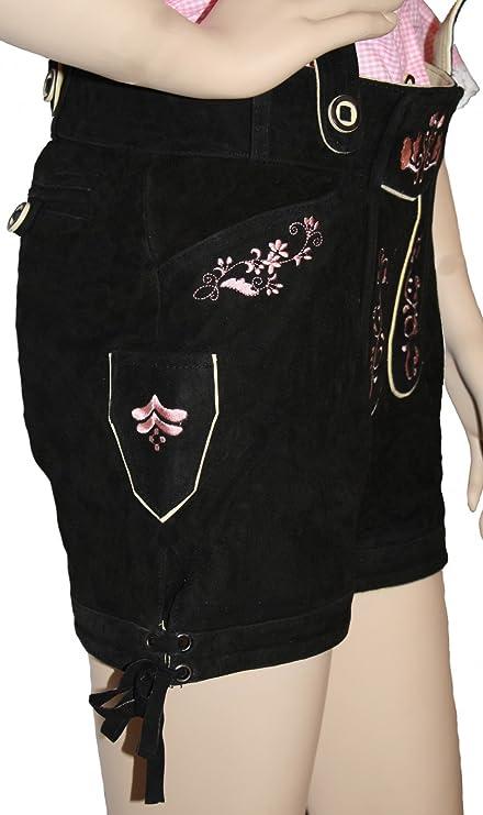 Kurze Damen trachtenlederhose Ziegenleder damenlederhose Schwarz-Rosa:  Amazon.de: Bekleidung