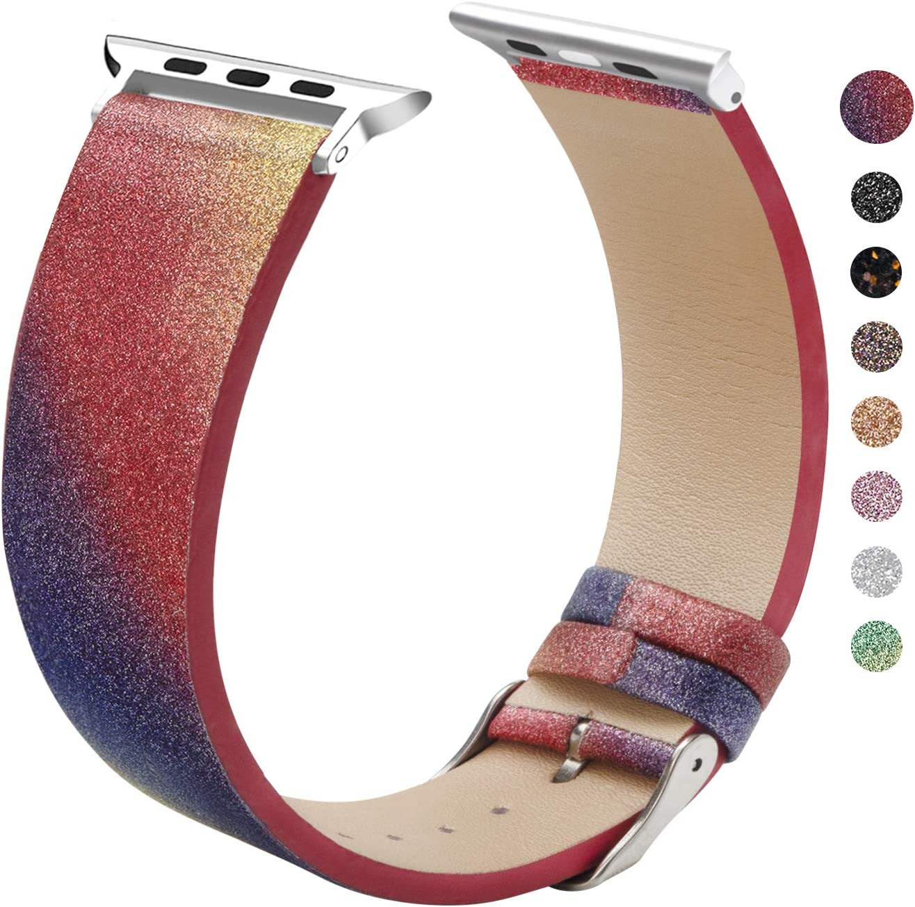 EurCross Watch Band Compatible with Apple Watch 42mm 44mm Shiny Strap Replacement Wristband for Women Glitter Bands Compatible with iWatch Series 6/SE/5/4/3/2/1 (Red Purple 42mm/44mm)