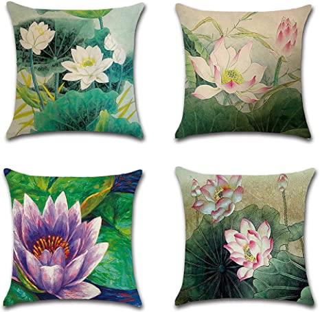 Akpower Cushion Cover Lotus Flower Throw Pillow Cases Decorative Cushion Covers For Sofa Bedroom Car 18 X 18 Inch Set Of 4 Home Kitchen