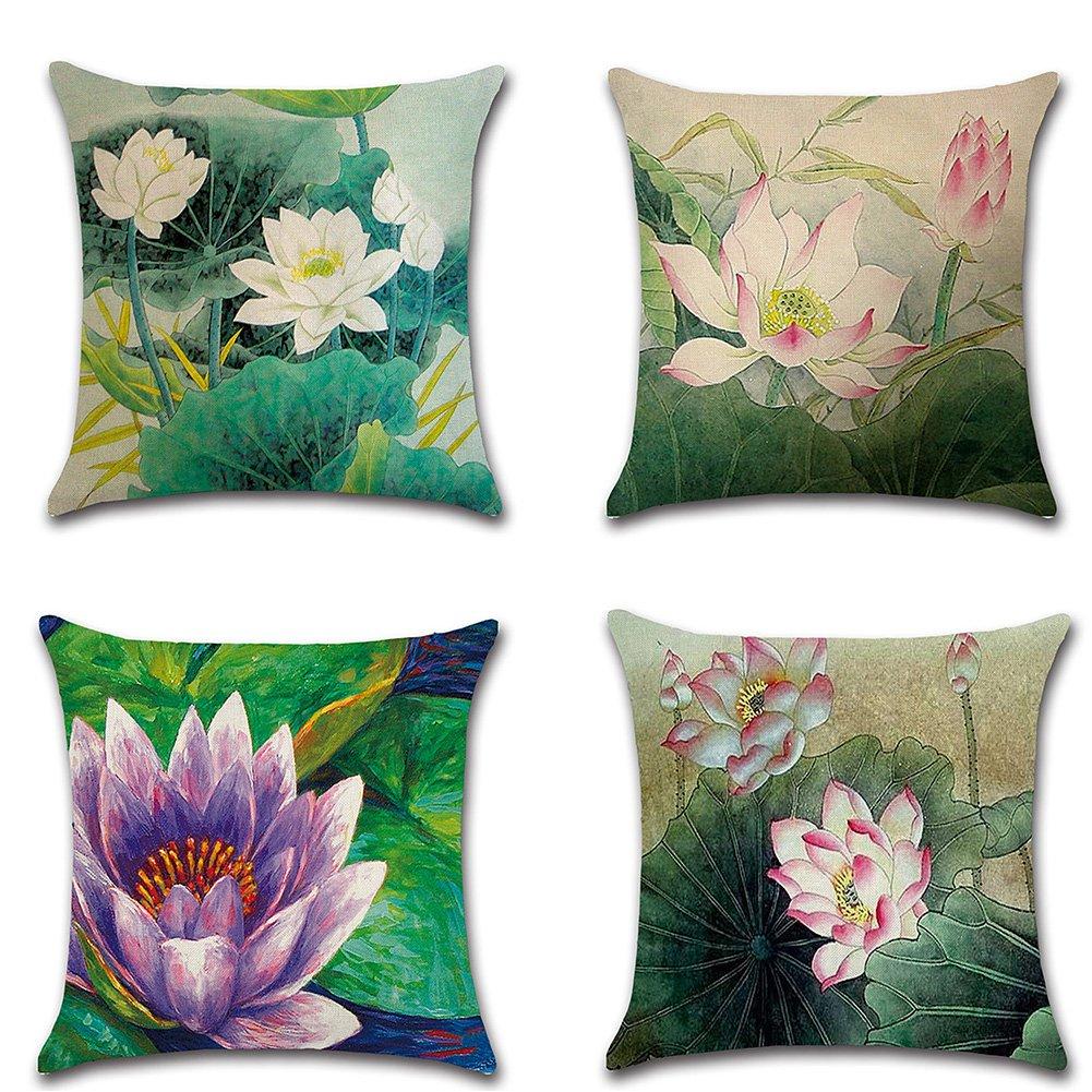 HuifengS Fundas de cojín cuadradas de Lino Decorativas para sofás o Camas, Juego de 4 Fundas de cojín, 45 x 45 cm