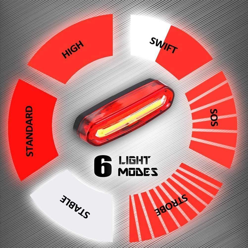 L/ámpara De Seguridad Impermeable IPX6 para Seguridad De Bicicleta Luz Trasera De Bicicleta USB Recargable LED Luz De Advertencia con 6 Modos De Luz Emeili Luz Trasera De Bicicleta