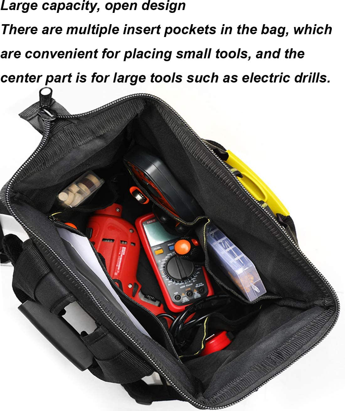 Tool Bag with Water Proof Molded Base,Tool Bags Organiser Muti-Purpose Wide Open Mouth Storage Bag with Adjustable Shoulder Strap,C B