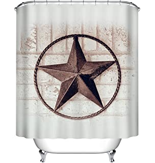 LB Vintage Texas Star Rustic White Painted Brick Wall Shower Curtain Set American West Theme