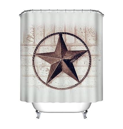 Amazon Lb Vintage Texas Star Rustic Painted Brick Wall Shower