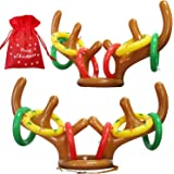 heytech Inflatable Reindeer, 2 Pack Inflatable Reindeer Antler Ring Toss Game for Christmas Party (Reindeer Antler