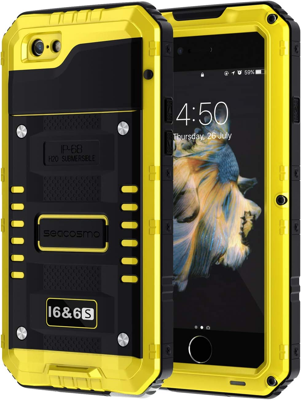 seacosmo iPhone 6/6S Case, Military Grade IP68 Waterproof Dustproof Shockproof Full Body Sealed Underwater Case with Built-in Screen Protector Heavy Duty Metal Rugged Case for iPhone 6/6S, Yellow
