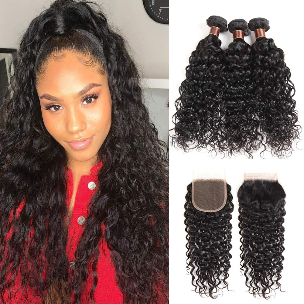 Ossilee Water Wave Bundles with Closure (14 16 18+12) Brazilian Human Hair 3 Bundles with Free Part Lace Closure Natural Wave Bundles with Closure Natural Color by Ossilee