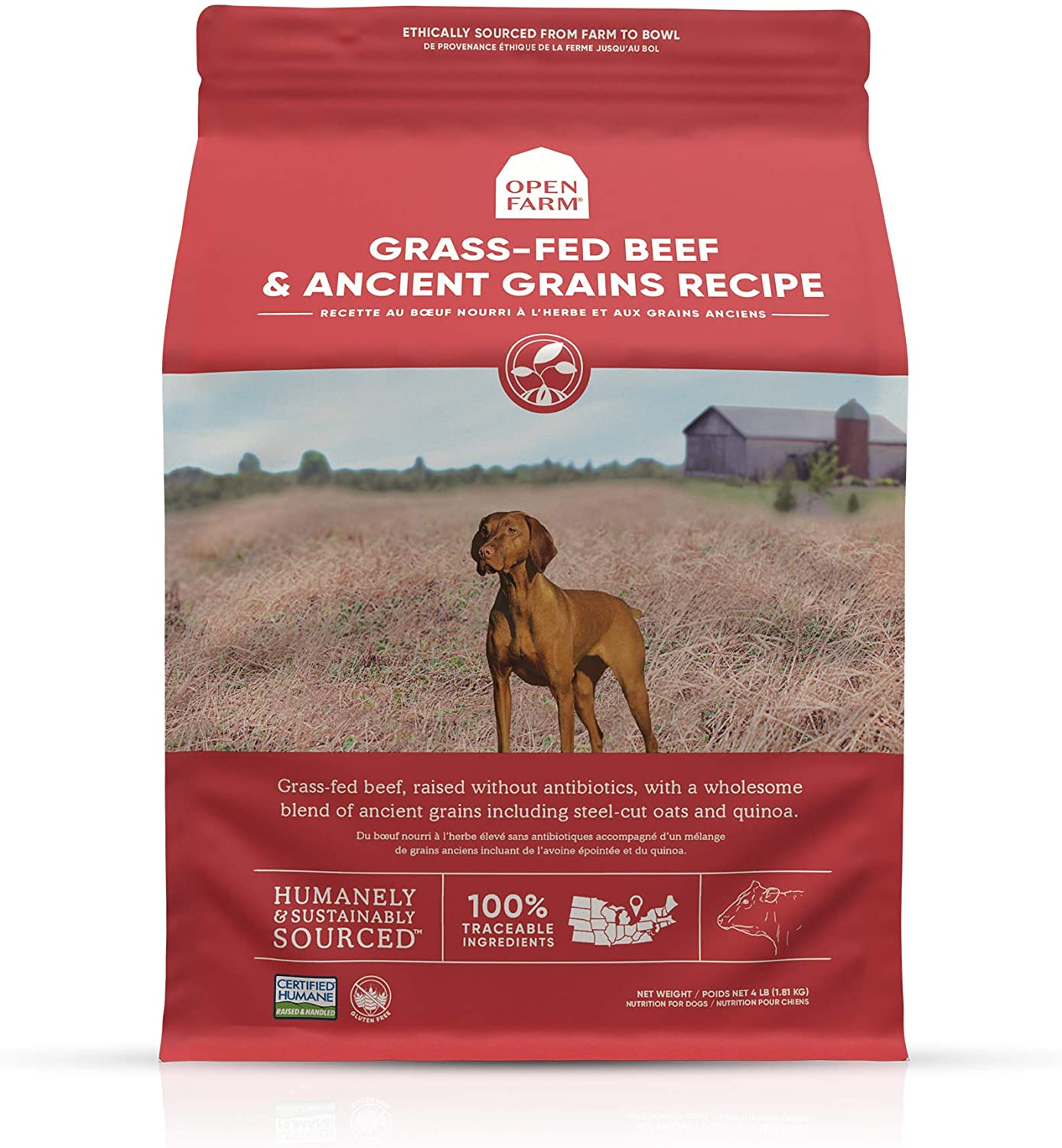Open Farm Grass-Fed Beef & Ancient Grains Dry Dog Food, 100% Grass-Fed Wagyu Recipe with Wholesome Grains and No Artificial Flavors or Preservatives, 4 lbs