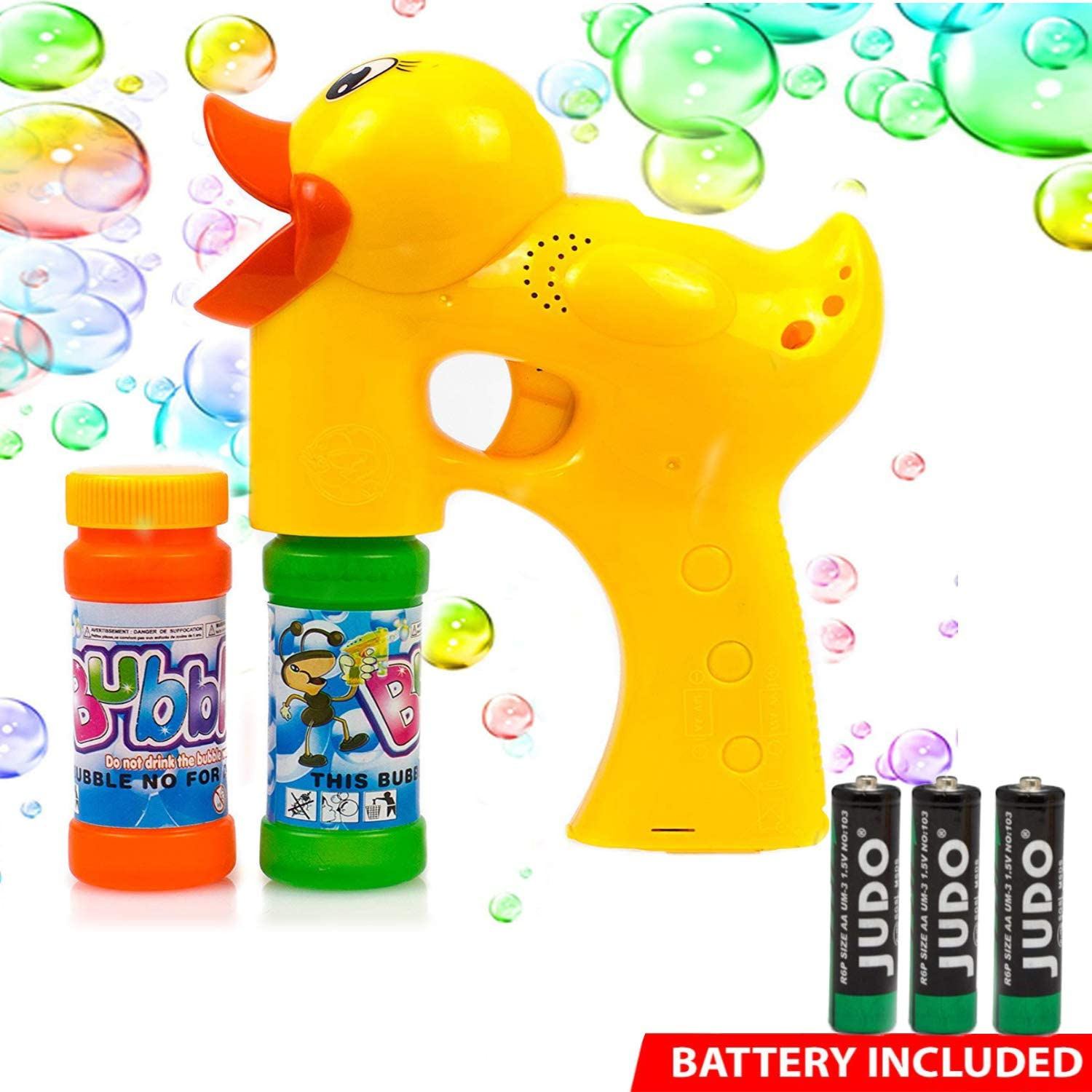 Toysery Duck Bubble Shooter Gun Toy - Lightweight Premium Quality Bubble Gun with Sound and Music - Bubble Blaster with Thousands of Colored Bubbles for Kids - Battery Operated Bubble Blower Gun