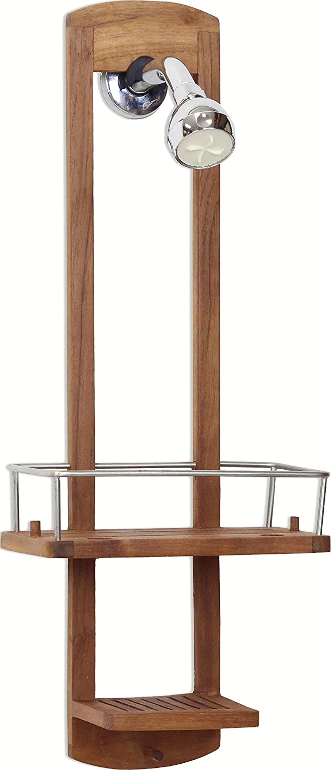 Amazon.com: The Original Moa Small Teak Shower Caddy: Home & Kitchen