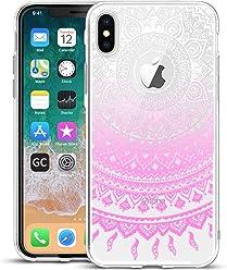 Girlscases® | iPhone XS Hülle, iPhone X/10 Hülle Indische Sonne Schutzhülle aus Silikon mit Indische Sonne Aufdruck/Motiv Glänzend | Farbe: Rosa/Pink