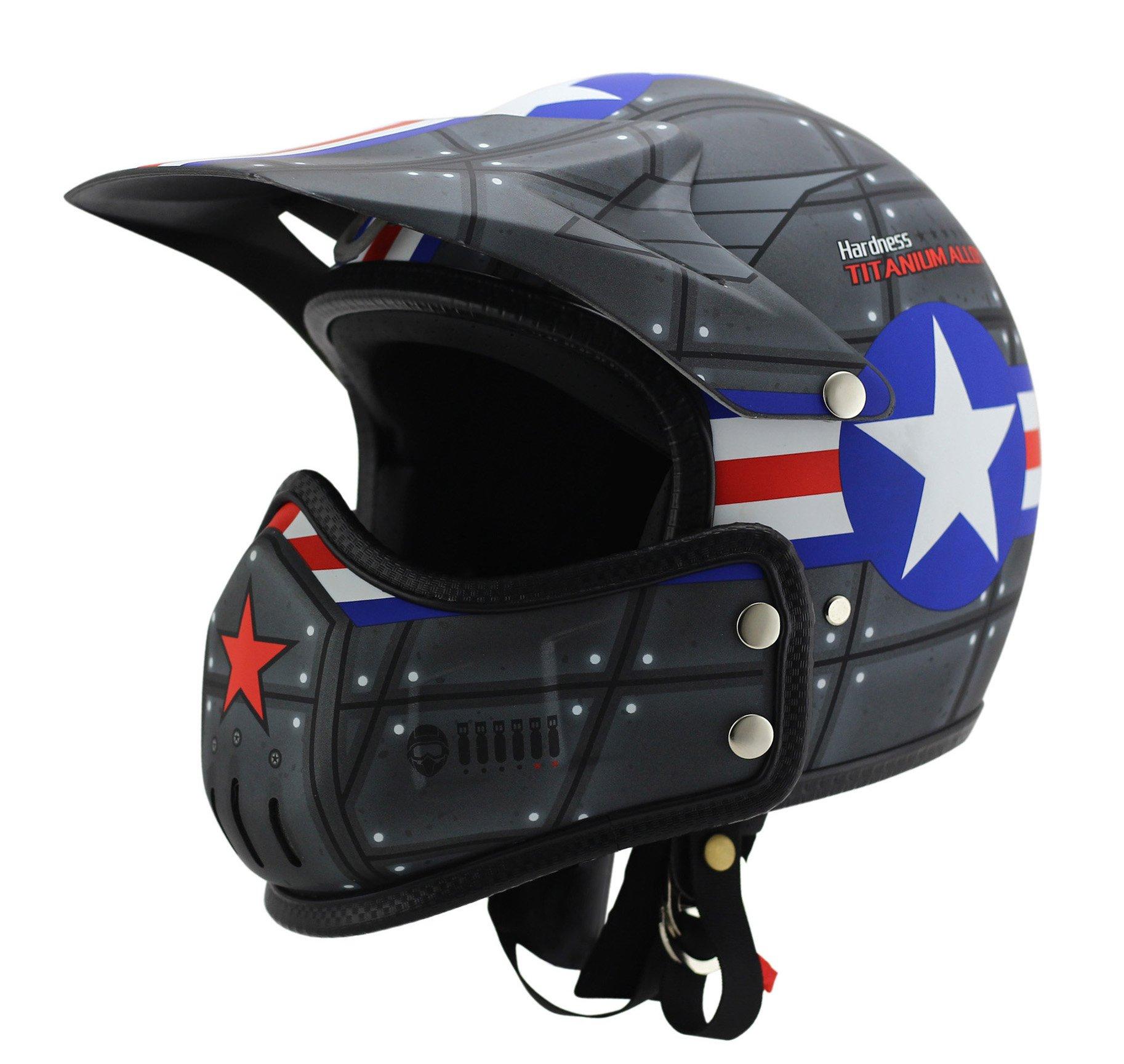 Woljay Dual Sport Off Road Motorcycle Open Face Helmet Dirt Bike ATV D.O.T certified (S)
