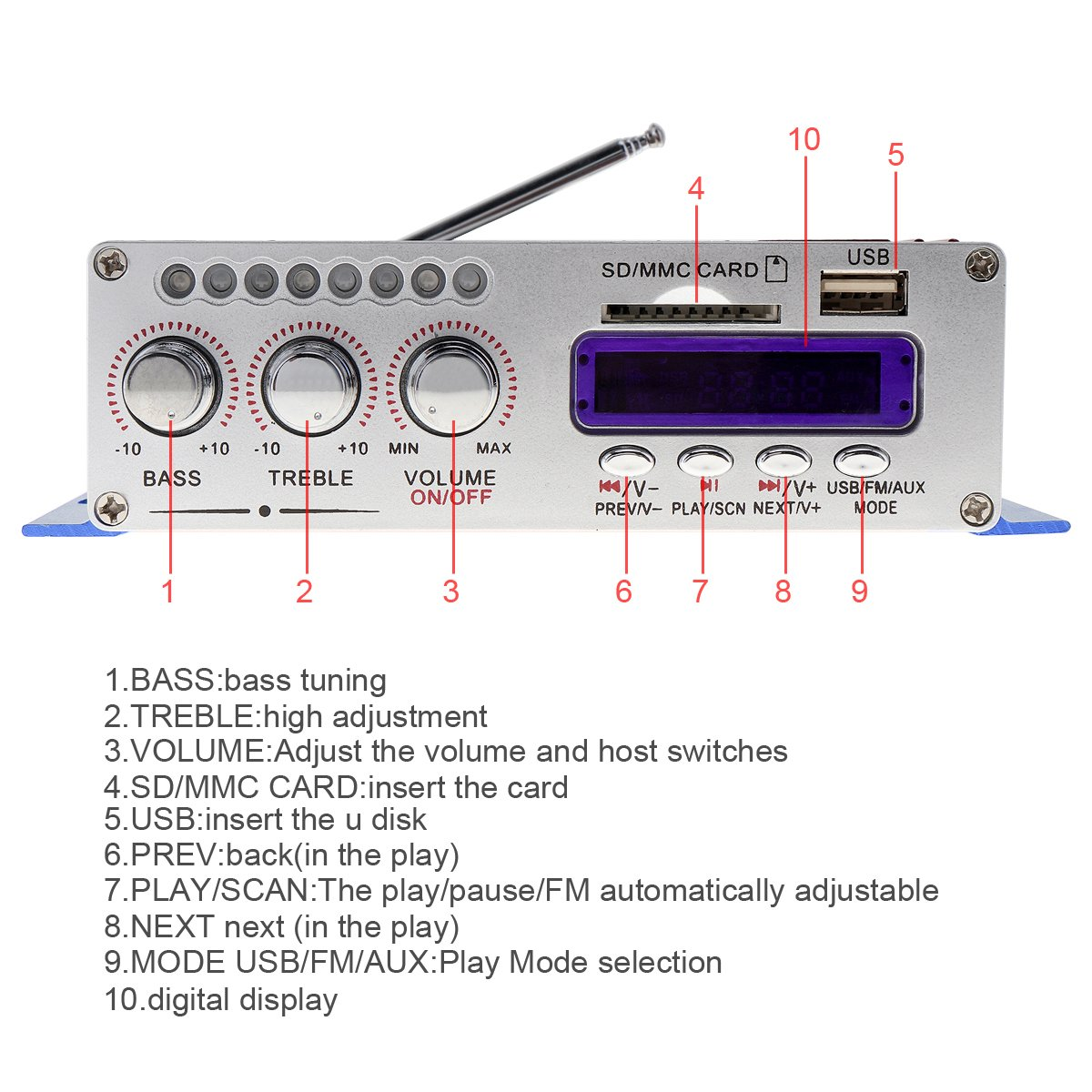 Kentiger Fm Audio Mp3 Speaker Car Bluetooth Amplifier Speed Small Tiger Model Remote Control Boat Receiver Circuit Board Hifi Mini 2 Channel Digital Power Player With Led Light For Ipod Motorcycle