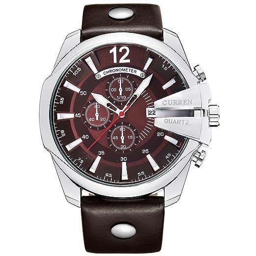 Curren los Hombres Relojes Macho Dorado de Lujo Fashion Correa de Piel al Aire Libre Casual Sport Reloj de Pulsera con Esfera Grande: Amazon.es: Relojes