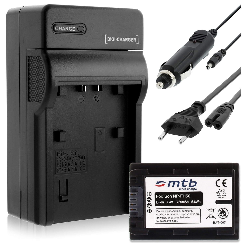 Baterí a + Cargador (Coche/Corriente) para Sony NP-FH50/FP-50 / DSC-HX1, HX100V, HX200V / Alpha... - ver lista! mtb more energy SET-614