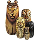 Bits and Pieces - Wild Cats - Matryoshka Dolls - Wooden Russian Nesting Dolls -- Jungle Cat Figurines - Stacking Doll…