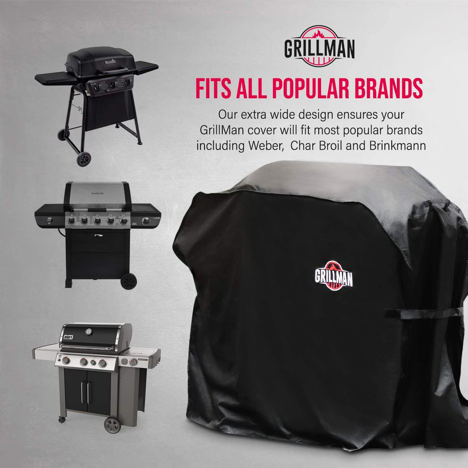 Grillman Premium Bbq Grill Cover Heavy Duty Gas Grill Cover For Weber Brinkmann Char Broil Etc Rip Proof Uv Water Resistant 64 Inch 163 Cm Black Amazon Co Uk Garden Outdoors