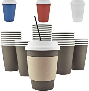 100 Pack - 12 Oz [8, 16, 20] Disposable Hot Paper Coffee Cups, Lids, Sleeves, Stirring Straws To Go