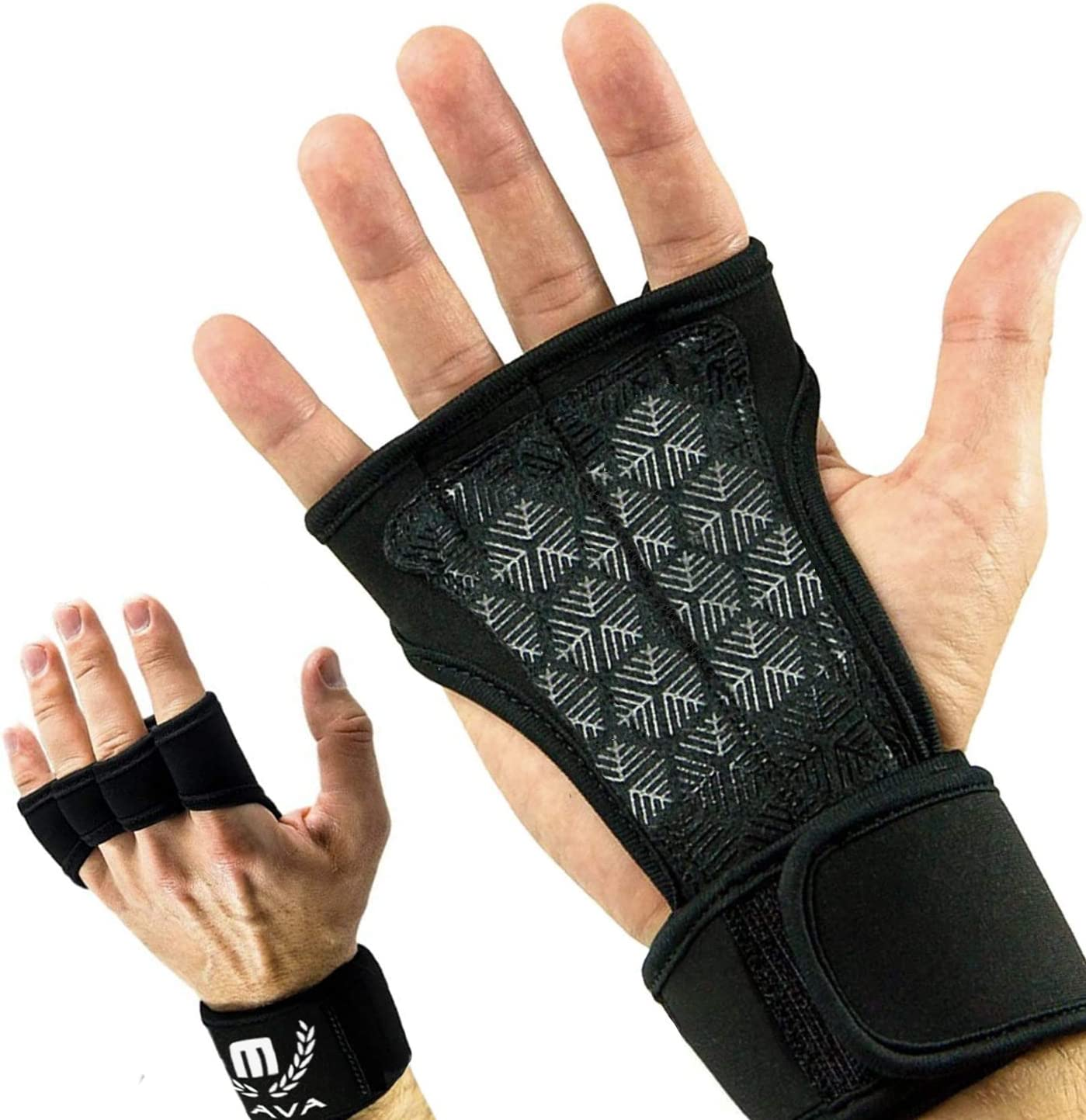Black XL Mava Sports Cross Training Gloves with Wrist Support for Gym Workouts