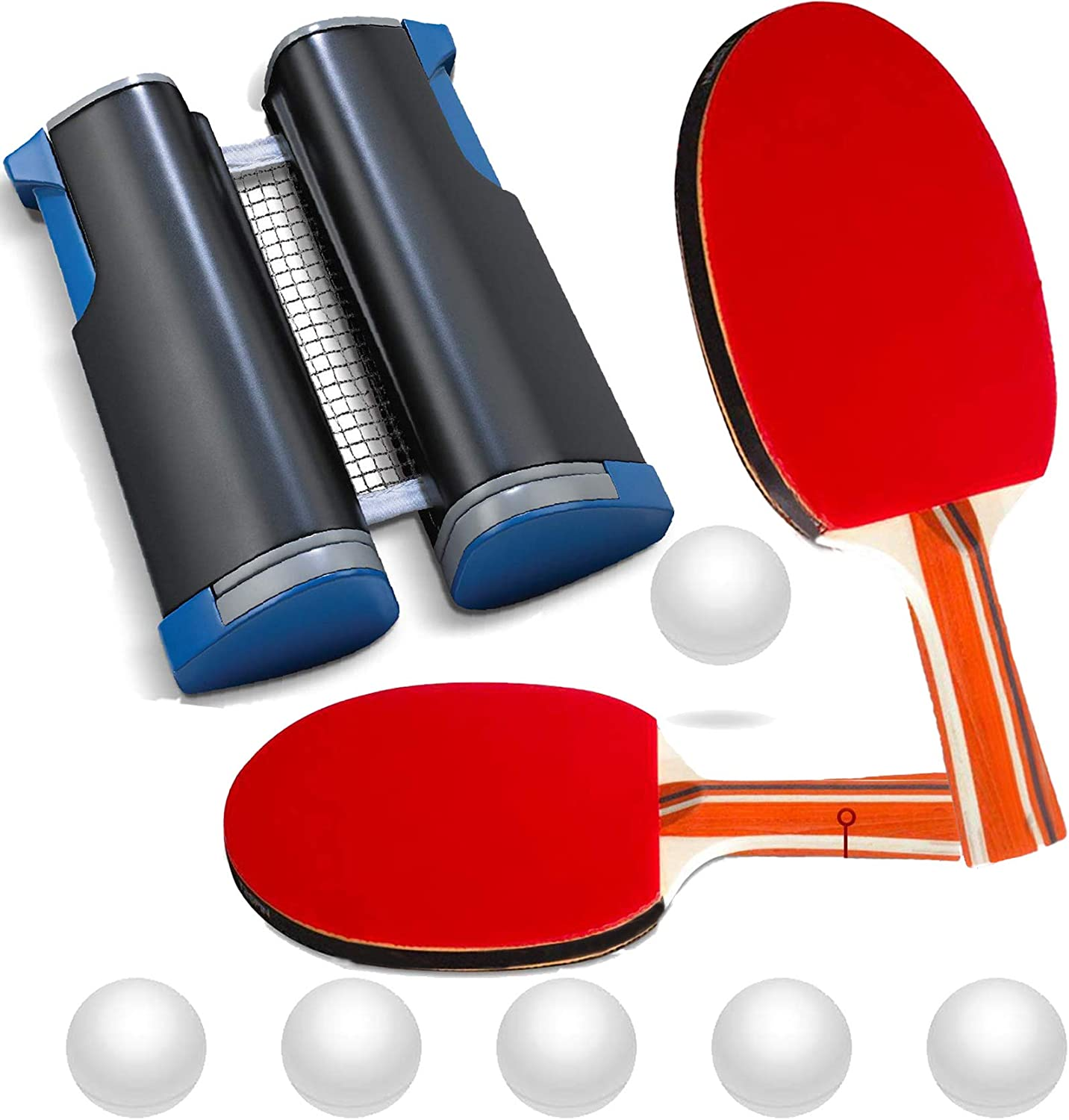 Ping Pong Paddle, Retractable Ping Pong Net with 2 Table Tennis Paddles 6 Balls for Any Table, Anywhere Ping Pong Equipment Home Indoor or Outdoor Portable Table Top Game to Go Set