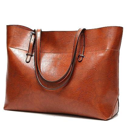 936fa2650ad Soft Leather Handbag for Womens, Large Commute Top Handle Tote Shoulder Bag  Zipper Women's Work Satchel Bag Brown