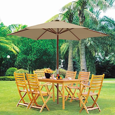 Yescom 8ft Wooden Outdoor Patio Umbrella W/ Pulley Market Garden Yard Beach  Deck Cafe Decor