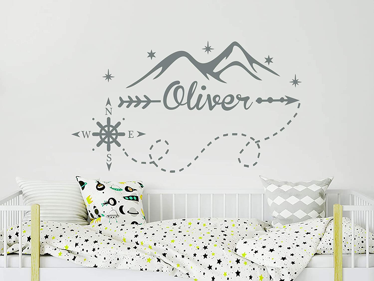 Mountains Wall Decal Personalized Boys Name Vinyl Stickers Custom Name Compass Nursery Nautical Bedroom Decor N17