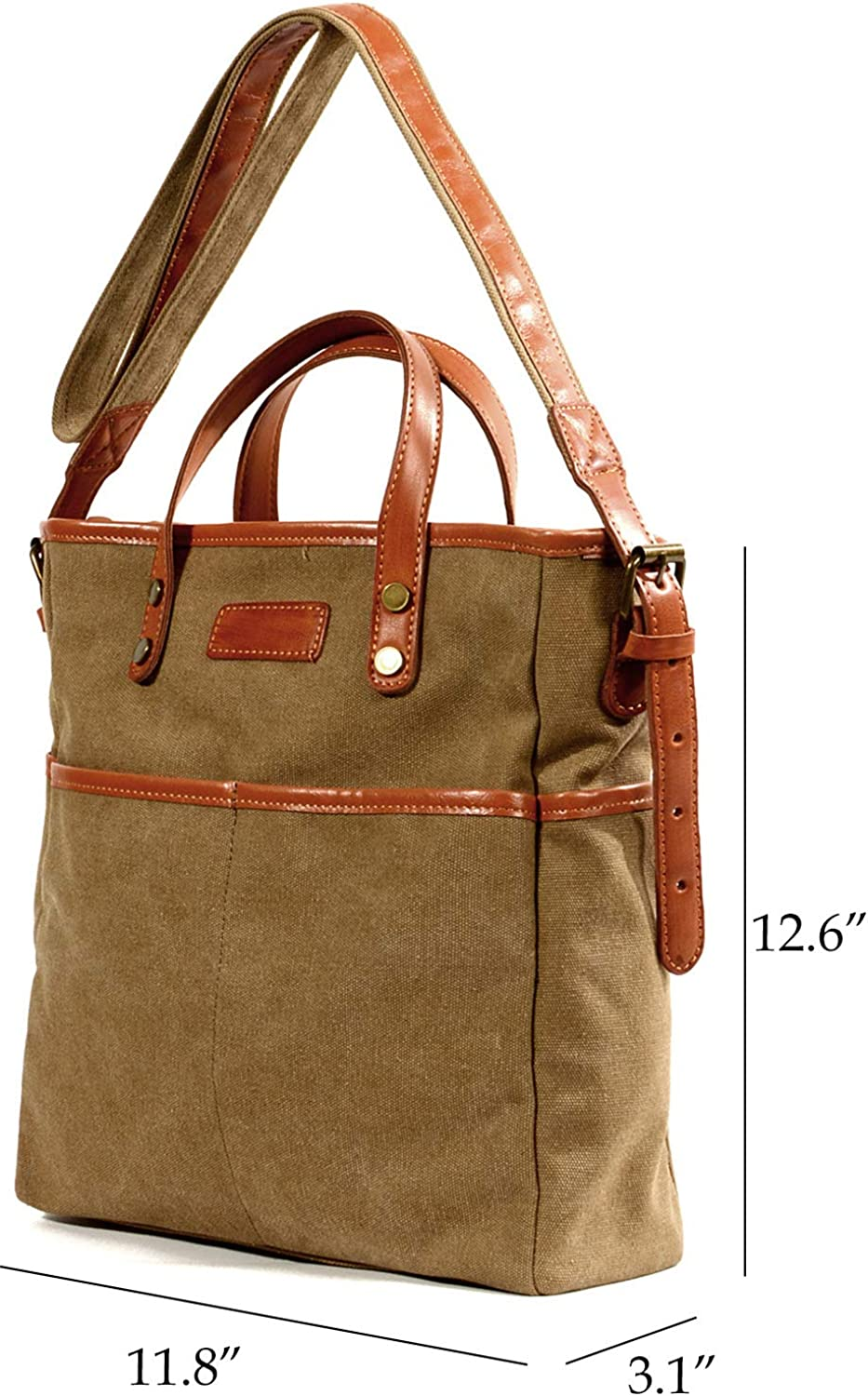 D1088 IBLUE Vintage Tote Bag Canvas Leather Trim Shoulder Handbag Top Handle Crossbody Purse