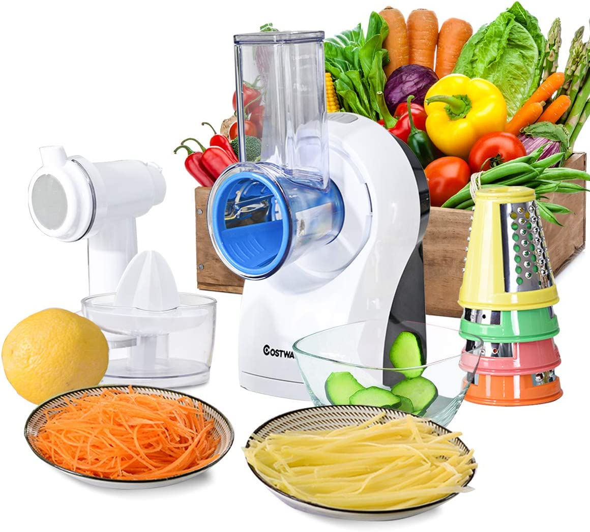 COSTWAY 3-In-1 food Processor, Efficient and Multifunctional Salad Maker Vegetable Slicer Cheese Grater with 5 Stainless Steel Rotary Drum Grater Slicer, Fast Fruit Cutter