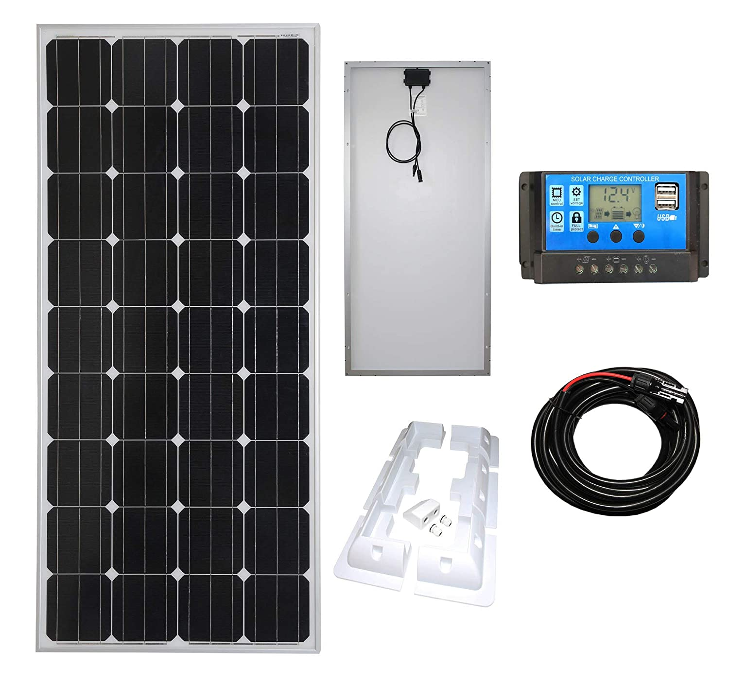10W Mono Solar Panel Battery Charging Kit with Charger Controller /& Mounting Bracket Set For Caravans Boats /& Any Flat Surface /… K2 Motorhomes