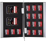 King of Flash Silver Aluminium 2 x SD/SDHC Memory Card 15 x Micro SD SDHC Cards Holder Carry Case