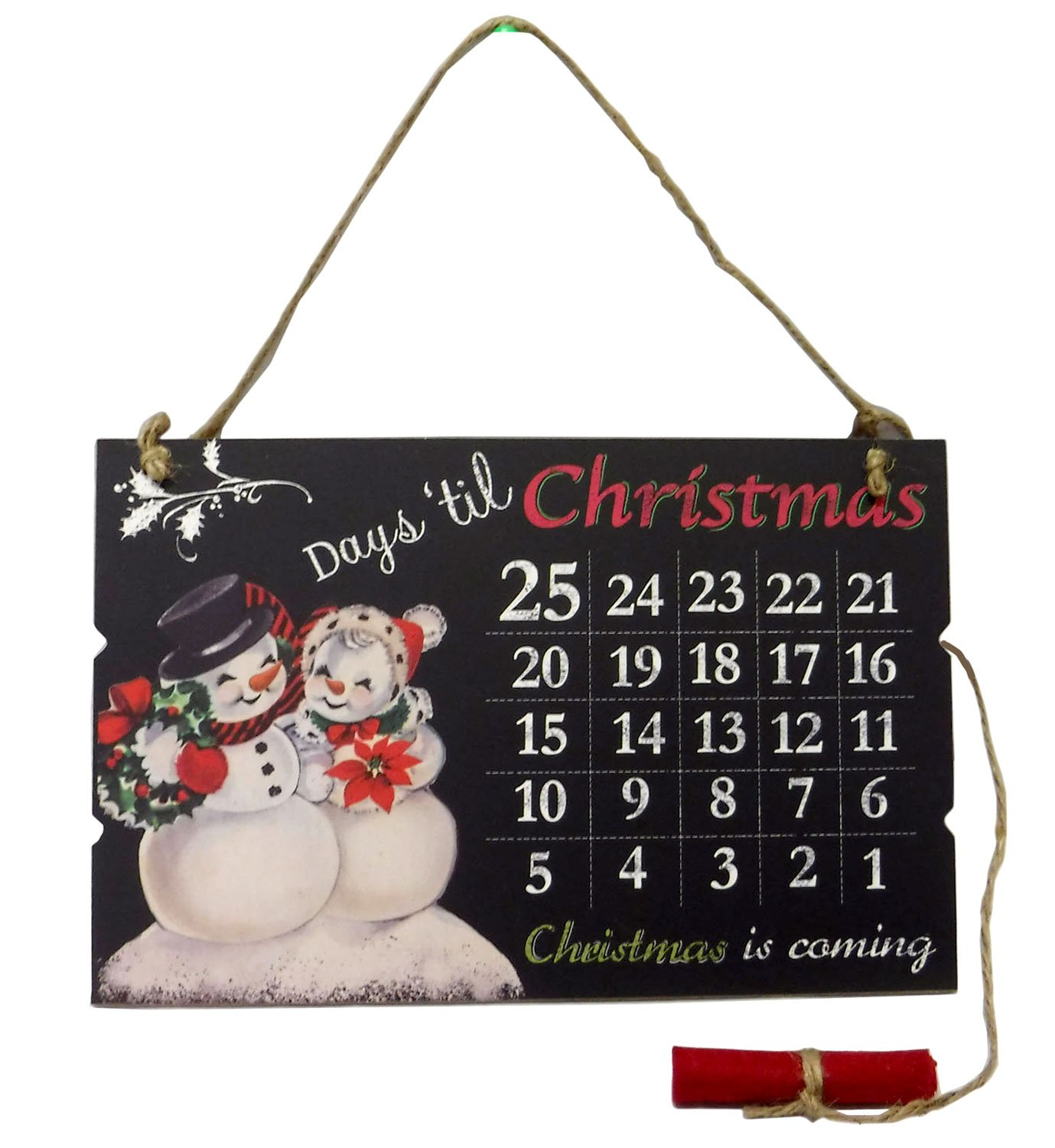 Days Till Christmas Advent Calendar Wood Hanging with Chalk Snowmen