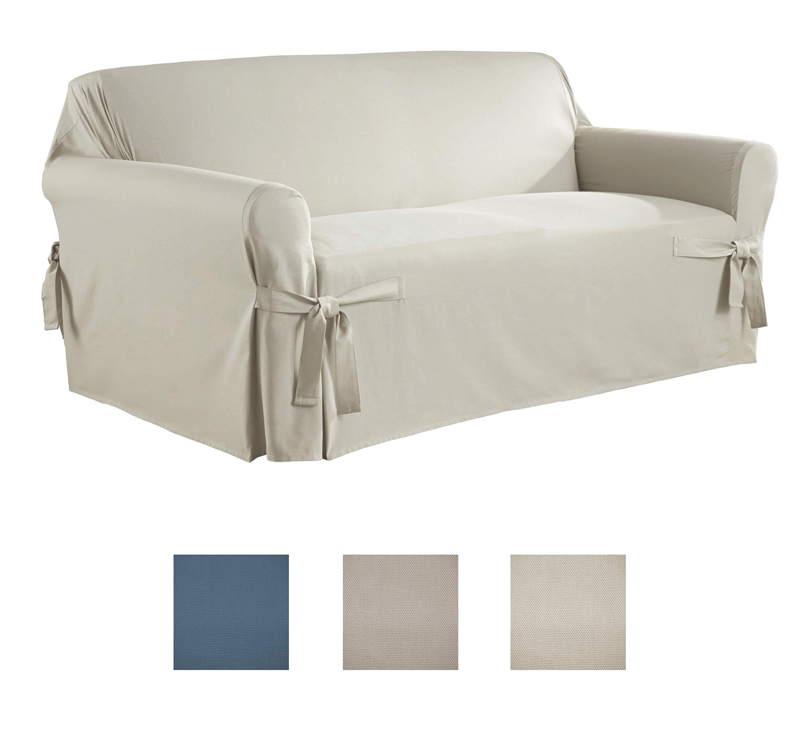 Serta | Relaxed Fit Durable Woven Linen Canvas Furniture Slipcover (Love Seat, Natural)