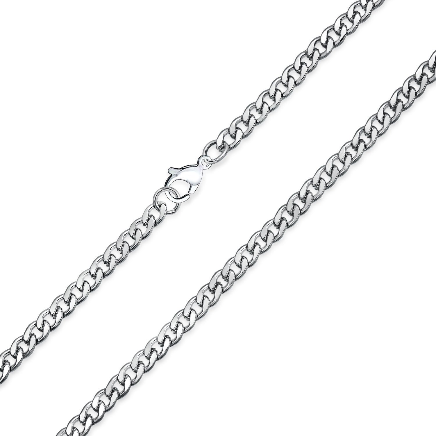 e2a92b0c877dc Bling Jewelry Thin 4 mm Silver Tone Stainless Steel Necklace Cuban Curb  Link Chain for Men 20 to 30 Inch