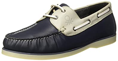 45a0405e911b United Colors of Benetton Men s Multi(Navy Blue+Grey) Leather Boat Shoes-