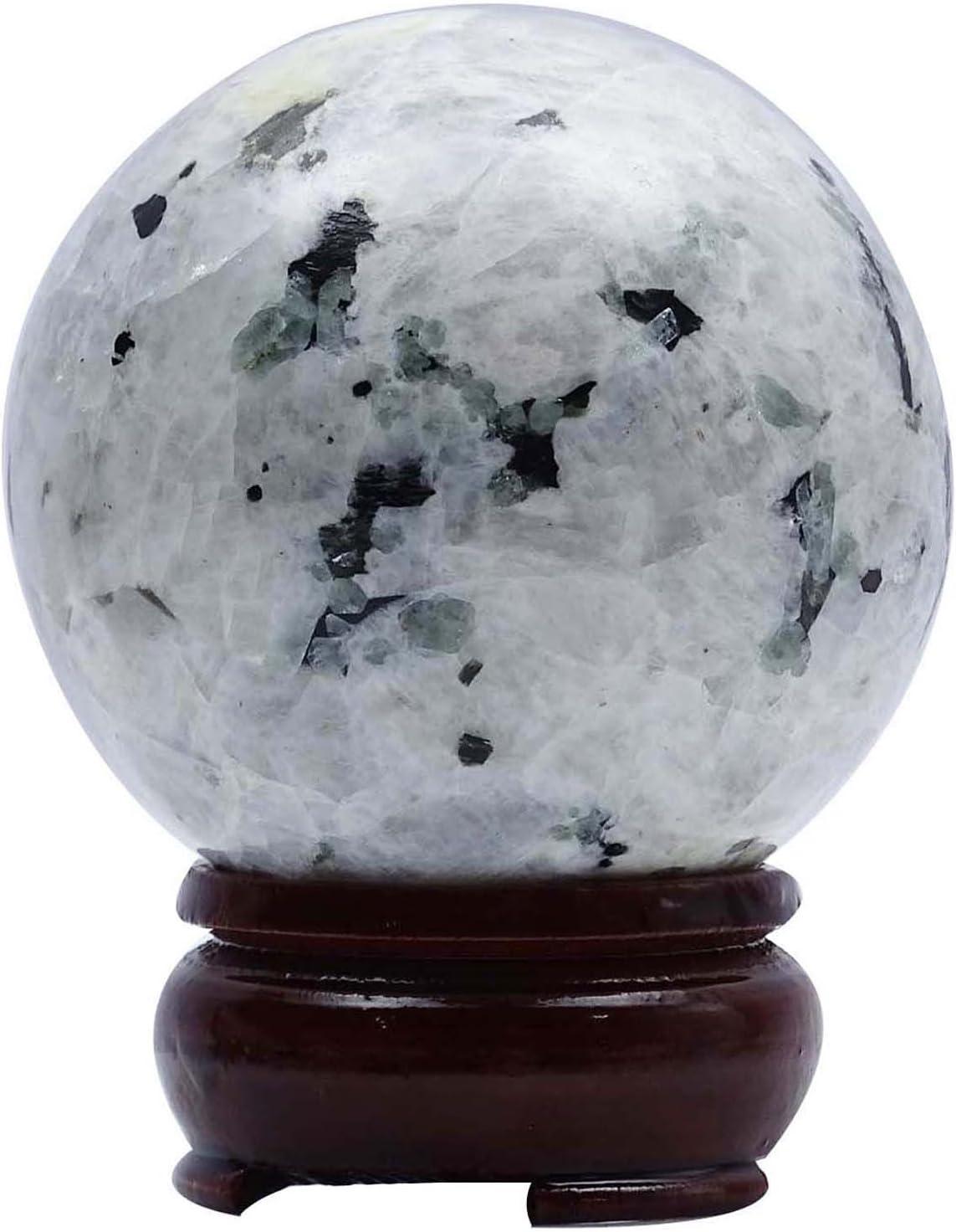 HARMONIZE Rainbow Moonstone Sphere Ball Stand Balancing Reiki Healing Stone Gift Table Decor