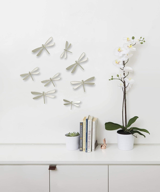 Nickel Umbra 470787-558 Wallflutter Wall Decor Set von 8 Wanddekoration Libelle aus Kunststoff