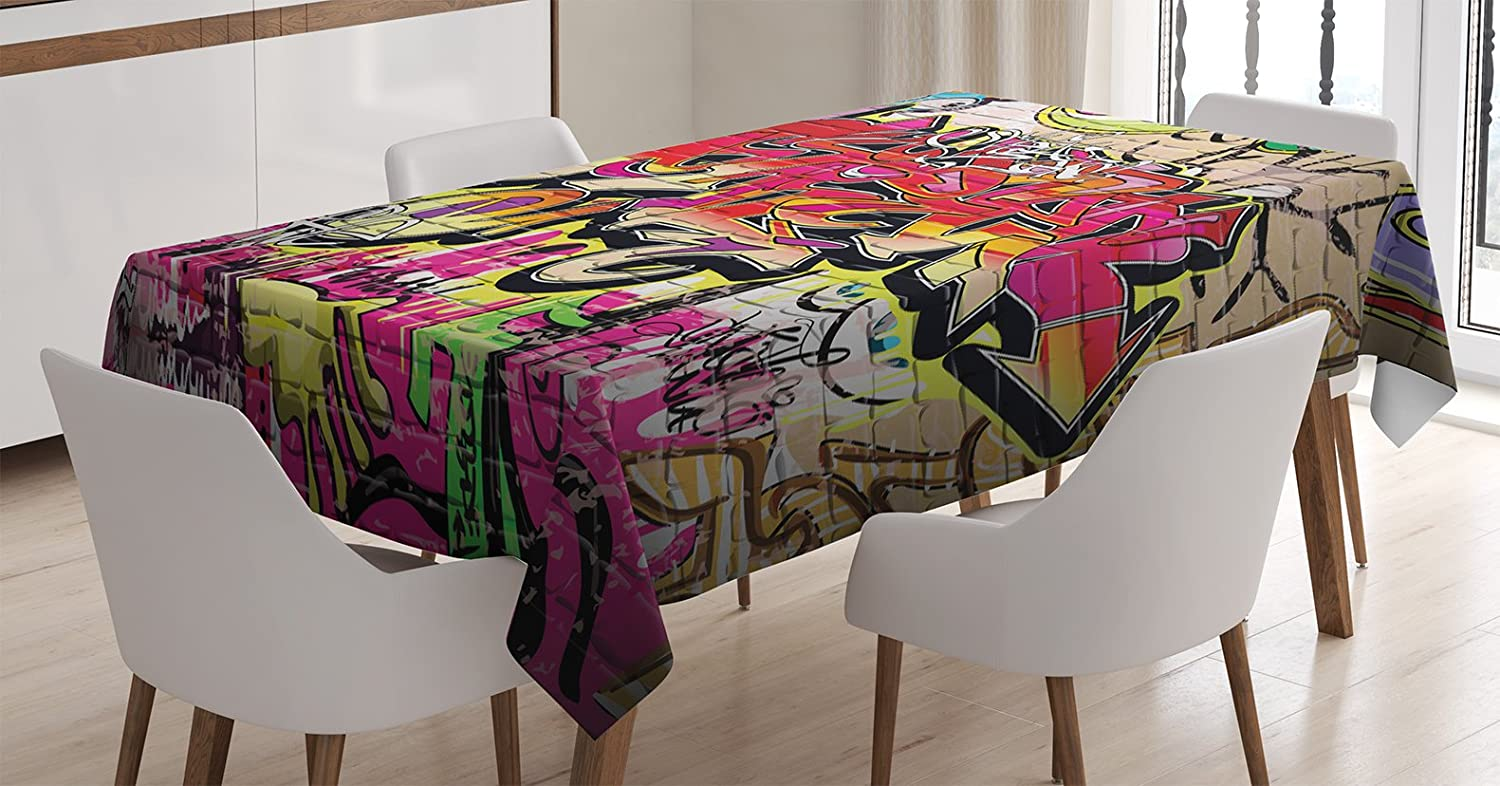 Ambesonne Rustic Home Decor Tablecloth, Graffiti on Wall Urban Street Art with Spray Paint Tagger Underground Theme, Dining Room Kitchen Rectangular Table Cover, 52W X 70L inches, Multi