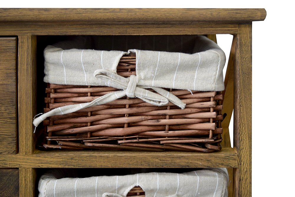 RE4522 HxLxP 4 cassetti 3 ceste Rebecca Mobili Credenza Multiuso - Art Misure: 73,5 x 73 x 32 cm Marrone Stil Country mobiletto Cucina Bagno Camera
