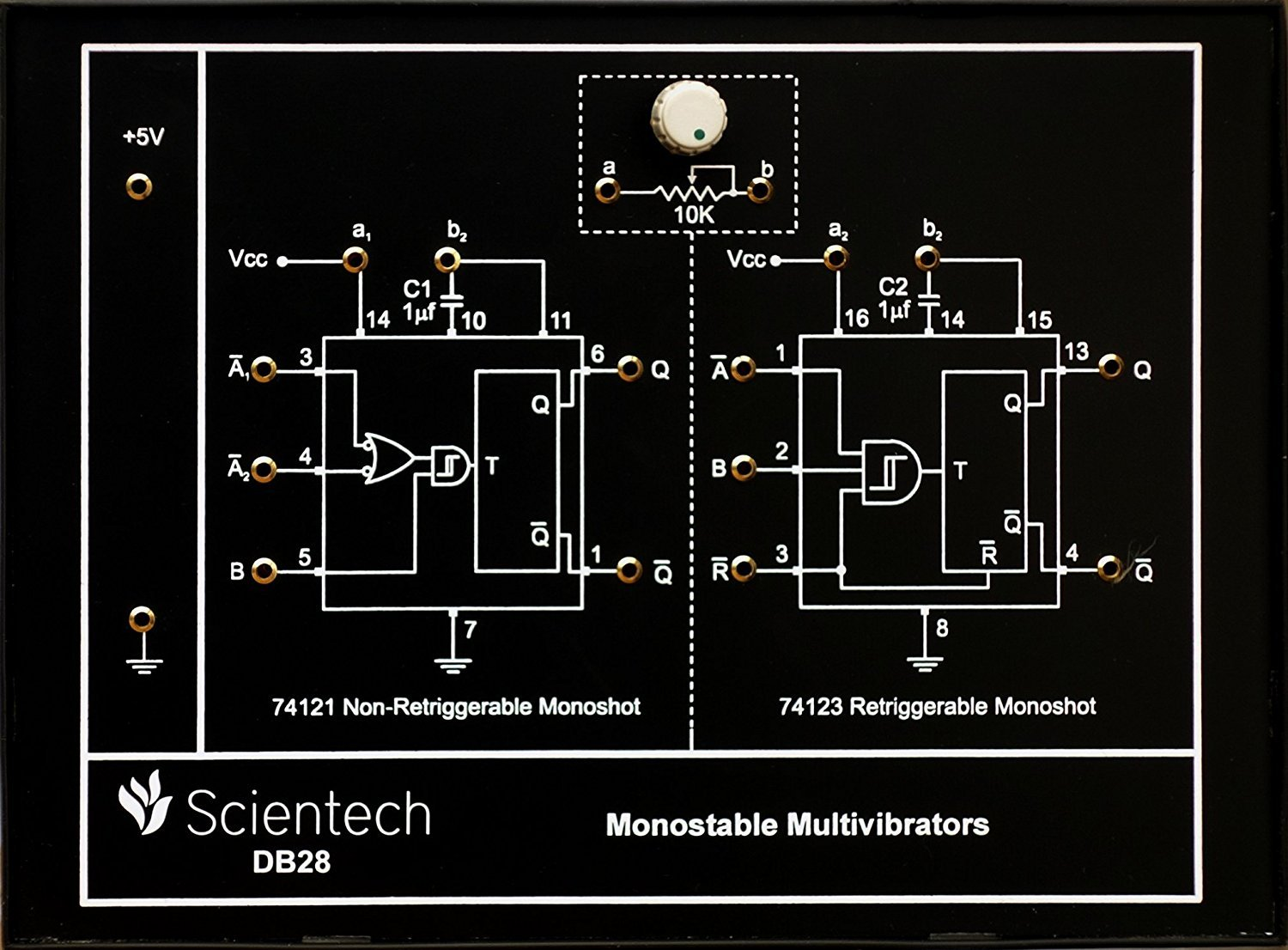 Db28 Monostable Multivibrator Experiment Board And Trainer Kit Symmetric 5v To Cmos Ttl Level Shifter With 1 Year Warranty