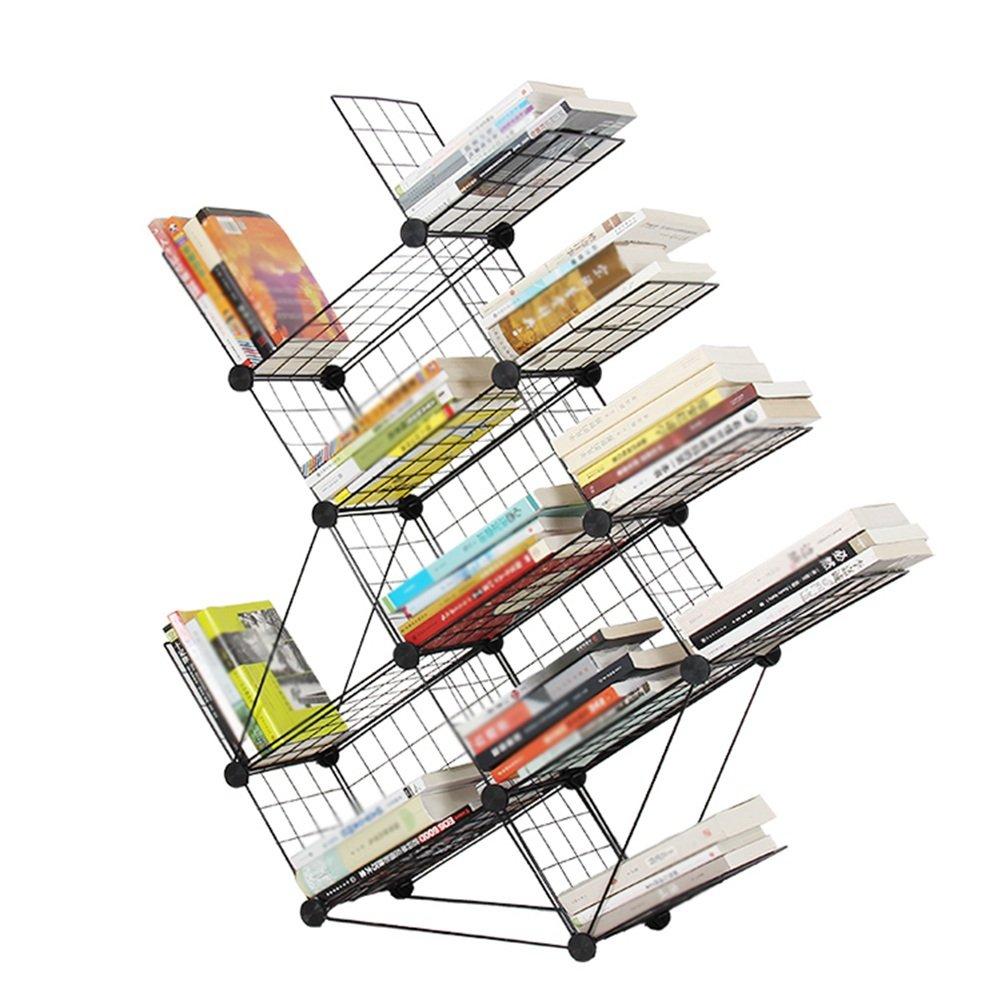 QIANGDA Libreria A Forma di Albero Scaffale Libri Rastrello di Ferro Nero Bookrack del Pavimento Portariviste Scaffalature per Esposizione 40 X 22 X 160 Cm