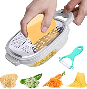 Cheese Grater Easy to Use Graters for Kitchen with Container and Lid for Cheese, Vegetables, Ginger